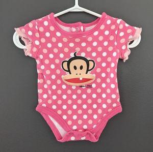 Paul Frank baby pink polka dot onesie/bodysuit